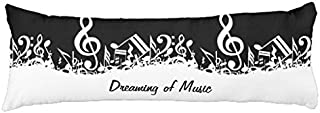 AILOVYO Dreaming of Music Silky Shiny Satin Body Pillow Cover, 20-Inch x 54-Inch