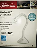 White Sunbeam Flexible LED Desk Lamp - No Bulbs to Replace- 5.3 in x 20 in - 3.2W - 290 Lumens - 4000K - 36,000 Hours Non-Dimmable