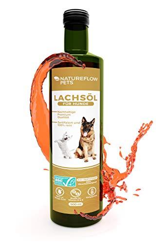 Natureflow Pets Nachhaltiges Lachsöl für Hunde mit wertvollen Omega 3 und Omega 6 Fettsäuren - ASC-Zertifiziertes Fischöl in Glasflaschen - 500ml Reines Lachsöl kaltgepresst - Lebensmittelqualität