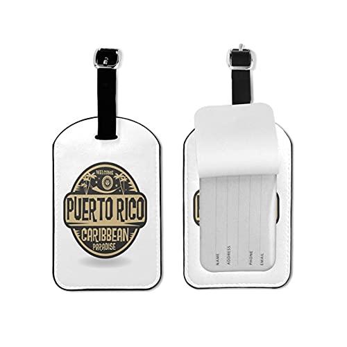 Tvuirw Sello con el nombre de Puerto Rico etiqueta de equipaje de microfibra pu cuero sintético etiqueta unisex universal viaje llevar lindo pequeño equipaje etiqueta