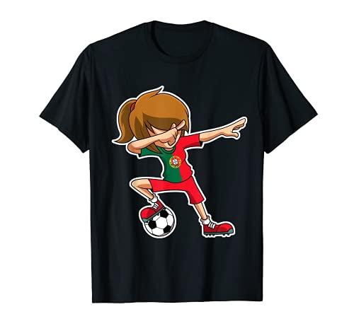 Dabbing Fußball Mädchen Portugal Trikot, Portugiesisch Dab T-Shirt