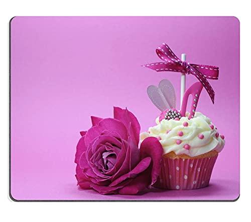 Hokdny Alfombrilla para Mouse con diseño de Cupcake Rosa Fucsia con Zapato y corazón y una Hermosa Rosa para Las Madres del Día Internacional de la Mujer
