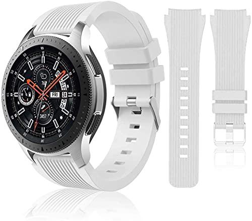 Correa de reloj compatible con Huawei Watch GT2 Pro/Samsung Galaxy Watch 46 mm/Galaxy Watch 3/Gear S3 45 mm 22 mm Smart Sport Watch Correa de repuesto para hombres y mujeres-blanco