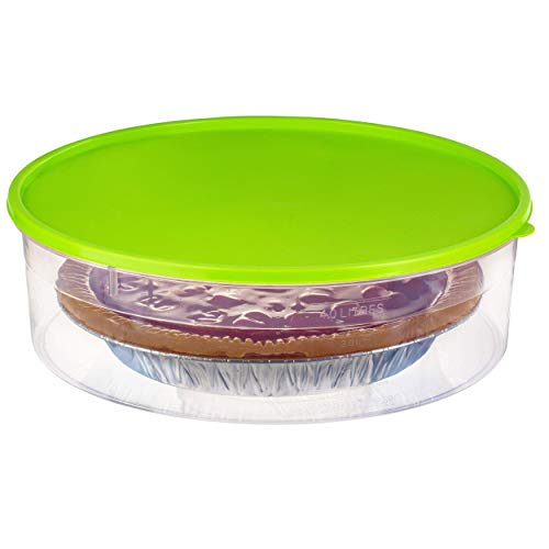 "Zilpoo Plastic Pie Container with Lid, 10.5"", Cupcake Carrier, Muffin, Tart, Cookie, Cheesecake Holder, Round Freezer Storage Food Keeper with Cover, Green"