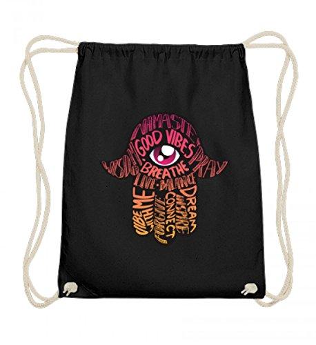 Hochwertige Baumwoll Gymsac - Hand der Fatima Hamsa Glücksbringer Meditation Yoga Auge Glück Mit Sprüche Namaste T-shirt