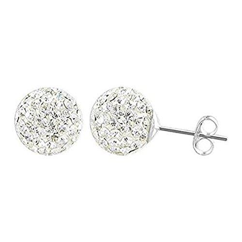 10MM Bling WHITE Disco Ball Shamballa Style Sterling Silver Stud Earrings - Austrian Crystal Earrings