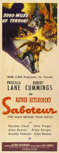 Saboteur Movie Poster (14 x 36 Inches - 36cm x 92cm) (1942) Insert -(Priscilla Lane)(Robert Cummings)(Otto Kruger)(Alan Baxter)(Norman Lloyd)(Charles Halton)