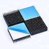 ヒートシンク 熱伝導性両面テープ付き 熱暴走対策 L40mm X W40mm X H11mm 4個入り ブラック 冷却フィン アルミニウム製 放熱板 ファイア テレビ DIYキット ICチップ MOSFET 回路基板 ハイパワーLEDアンプに適用