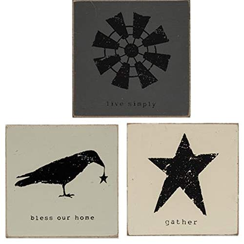 HAPPY DEALS ~ Live Simply Block Signs | Set of 3 | Crow Sign - Bless Our Home, Windmill Sign - Live Simply, Star Sign - Gather | 3.75 inch