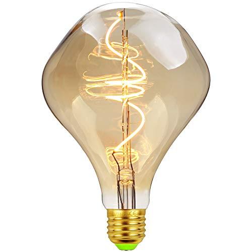 LightingDesigner, lampadina LED vintage in stile Edison, 4W, dimmerabile, forma a spirale curva con filamento decorativo, luce bianca calda, 2000K, 240LM, 220/240V, modello Alien G125
