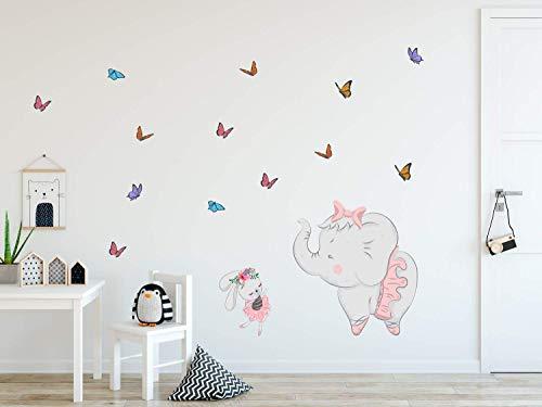 Ballerina Elefant Wandtattoo Bunny Wandaufkleber Schmetterling Abziehen und Aufkleben Rosa Kaninchen Aufkleber für Mädchen Schlafzimmer Kinderzimmer Wanddekoration Kindergarten