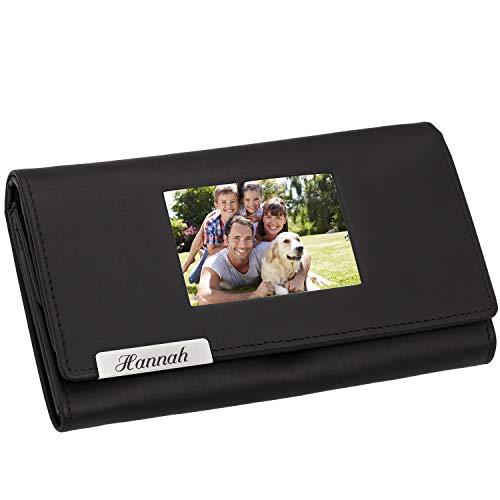 Cadenis Damen Leder Geldbörse mit großem Fotofach und Laser-Gravur Glattleder schwarz Querformat 16,5 x 10 cm