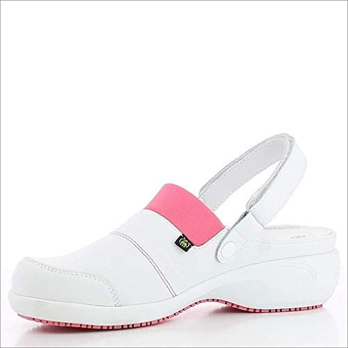 Oxypas Move Up Sandy Slip-resistant, Antistatic Nursing Clogs with Heel in White with Fuchsia Size EU 39 / UK 5.5