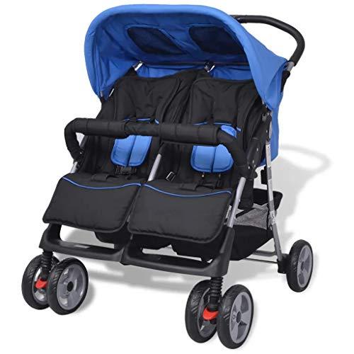 Passeggino gemellare leggero, blu e nero Pieghevole Passeggino Fratellare Gemellare per 1-2 bambini fino a 15 kg ciascuno