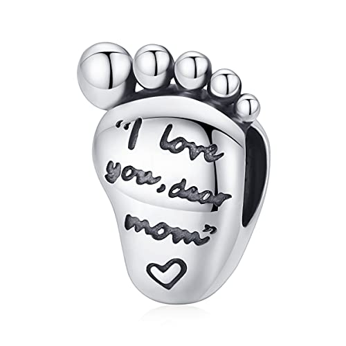 NewL Colgante de plata de ley 925 con diseño de pie de bebé, con texto en inglés 'My Dear Mom I love you'