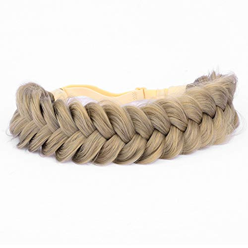 DIGUAN Messy Wide 2 Strands Synthetic Hair Braided Headband Classic Chunky Plaited Braids Elastic Stretch Hairpiece Women Girl Beauty Boho accessory, 62g/2.1 oz (Dark Ginger Blonde)