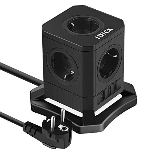 FDTEK Cubo Regleta Enchufes con 5 Tomas y 3 Puertos USB,USB-C de Carga Rápida(18W),Ladron Enchufe USB con Interruptor y Protección Sobretensione,Cable de 2 m,Adecuado para Casa y Oficina,Negro