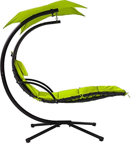 Best Patio Chair Hanging Chaise Lounger Chair Floating Chaise Canopy Swing Lounge Chair Hammock Arc Stand Air Porch Stand for Canopy Swing Chair Naps Use Indoor&Outdoor, Adjustable Umbrella - Green