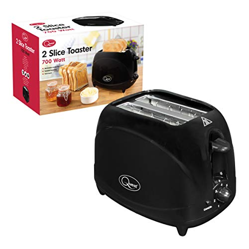 Quest 34280 Classic Two Slice Toaster Variable Browning Levels Cool Touch, 700W, H16 x W25 x 14.5cm, Black