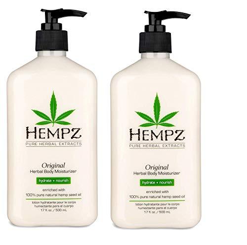 Hempz Original, Natural Hemp Seed Oil Body Moisturizer with Shea Butter & Ginseng, Pure Herbal Skin Lotion for Dryness, Nourishing Vegan Cream, Floral and Banana, 17 Fl Oz, 2 Pack