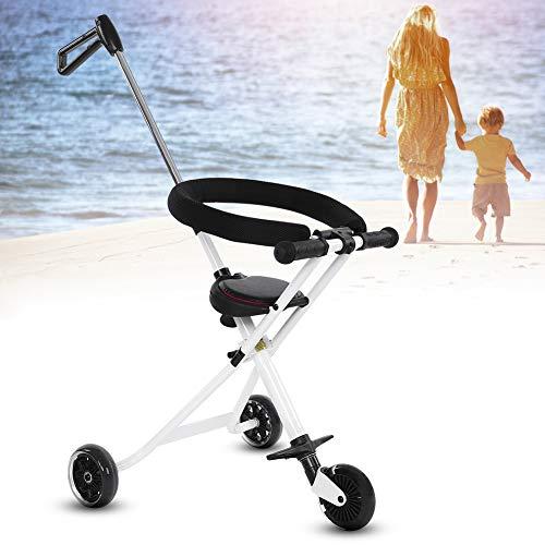 Triciclo con Maniglione Portatile, Triciclo Passeggino pieghevole per Bambini in lega di alluminio, Triciclo a Spinta per Bimbo Leggero Compatto, Capacità 30 kg, bianco