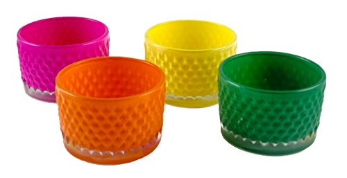 Party Explosions Colorful Embossed Glass Votive Candle Holders - Set of 4