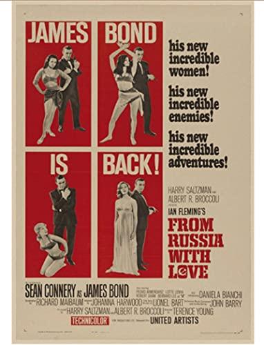 LAIDAO Poster su Tela 007 Poster Pierce Brosnan Film Classici Vintage Poster Retro Home Decor Bar Poster Retro New Art 50 * 70 Cm (Senza Cornice)