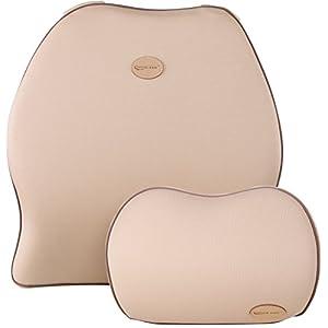 Cojín de Respaldo Lumbar & Juego de Almohada de Cuello Reposacabezas para Coche, Travel Ease Coche Espuma de Memoria…