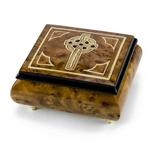 MusicBoxAttic Elegante Caja de música con Incrustaciones de Cruz Celta Italiana Hecha a Mano, más de 400 Opciones de Canciones, Madera, 159. Here Comes The Sun