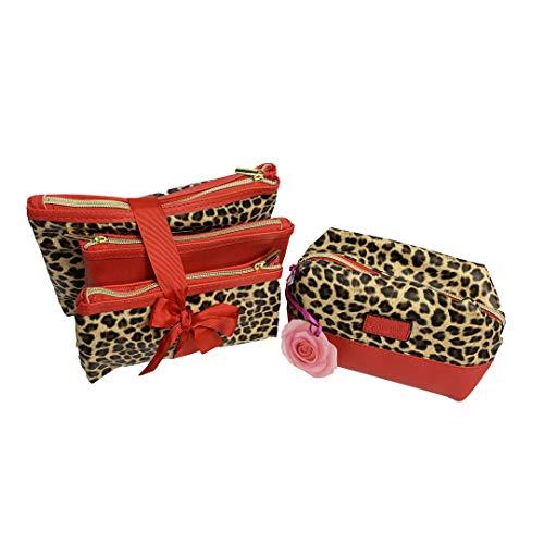 Camomilla Set 4 Borse Pochette Leopardate 3 Borsette + 1 Beauty Case Animalier