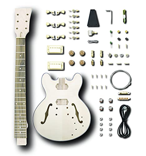 Leo Jaymz DIY Hollow Body Electric Guitar Kit with Basswood Body and Maple Neck - Rosewood Fingerboard and All Components Included (G-335)