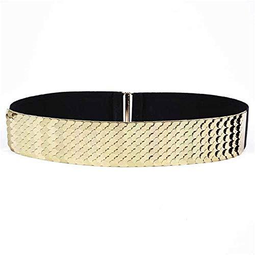 Riemen Women Waist Belt Dames Riemen, Simple Wide taille, Elastische Dress, brede riem (Kleur: zilver) (Color : Gold)