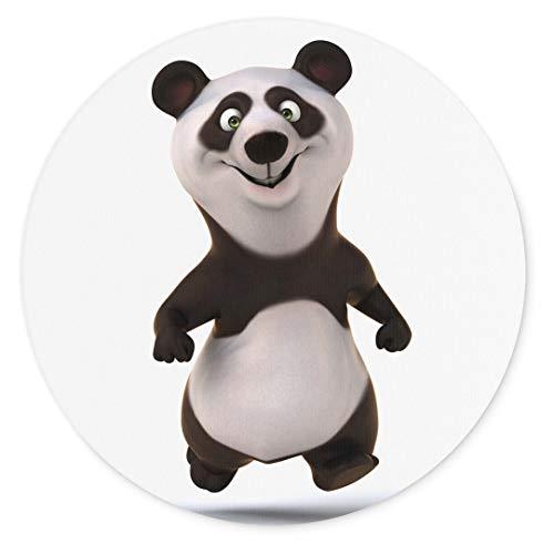 Merchandise for Fans 3D-Panda laufend, Mauspad rund aus Textil 20cm, Rutschfester Kautschukrücken, für alle Maustypen