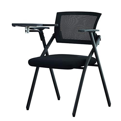 Preisvergleich Produktbild Büromöbel Multifunktionale Ausbildung Stuhl Konferenzstuhl Mit Schreibtafel Mobile Klapp Ausbildung Stuhl Tisch Und Stuhl (Color : Black,  Size : 45 * 56 * 83cm)