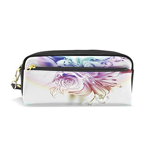 Trousse, roses Lilies orchidées Imprimé Voyage Maquillage Pouch Grande capacité étanche Cuir 2 compartiments pour filles garçons femmes Hommes