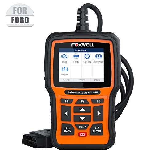 FOXWELL NT510 Elite OBD2 Scanner for Ford Lincoln Mercury Automotive Full-System Diagnostic HVAC 4WD Scan Tool Car Code Reader with Oil Reset ABS EPB SAS TPS Active Test and Battery Registration