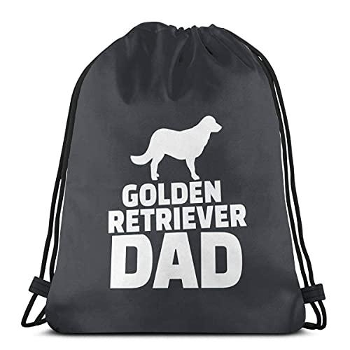 Bolsa de cordón Golden Retriever Papá Sackpack Cadena Cincha Resistente al Agua Bolsa de Playa para Gimnasio Compras Deporte Yoga 36*42cm