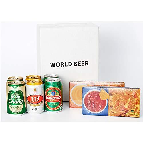 【世界のビールと世界のフードセット】自宅でオンライン飲み会セット「チャーンビールx2本、青島ビールx2本、333ビール x 2本 ※ナチョディップチップス2種(サルサソース、チーズソース) [ 中国 330ml x 6本 ]