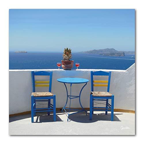Griechische Siesta - XXL Bild / Wandbild, Größe: 60 x 60 cm Quadrat, Digital-Druck auf Art Canvas Leinwand, Keilrahmen 2 cm. Griechenland Ägäis Meer Insel Stuhl Tisch weiß gelb blau Liebe groß Kunst