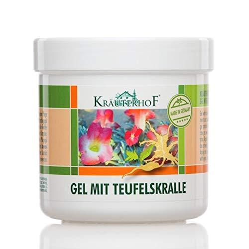 Kräuterhof Gel med Devil's Claw och Eucalyptus, Menthol och Camphor extrakt 250 ml badkar förseglat med aluminiumfilm [idealisk vård för massage]