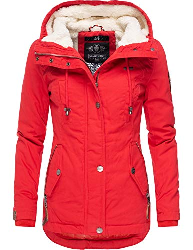 Marikoo Damen Baumwolljacke Winterjacke mit Kapuze Bikoo Rot Gr. XL