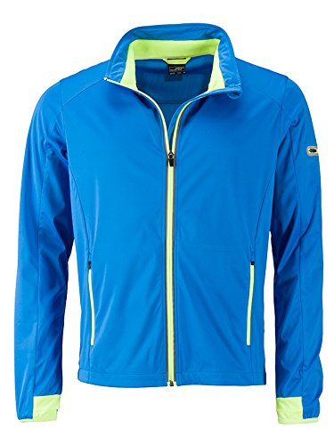 JAMES & NICHOLSON Men's Sports Softshell Jacket, Bleu (Bright-Blue/Bright-Yellow Bright-Blue/Bright-Yellow), XL Homme