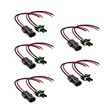 ONLINE LED STORE 5pc 2-Wire Weather Pack Connector Kit Assembled with 10' 12 AWG Wires
