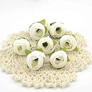 Silk Flower Arrangements 10pcs Cheap Mini Real Touch Silk Artificial Rose Flower Head Camellia Buds Wedding Home Decoration Wreaths Craft Fake Flowers (Color : White)
