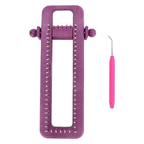 DIY Purple Hand Knitting Tool Hosiery Knitting Machine Adjustable Sock Loom Kit for Wool Hat Handkerchief