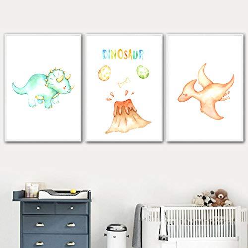ZDFDC Cartoon Dinosaurier Ei Vulkan Poster und Drucke Kinderzimmer Wandkunst Leinwand Malerei Baby Kinderzimmer Dekor Wandbilder-30x40cmx3 ohne Rahmen