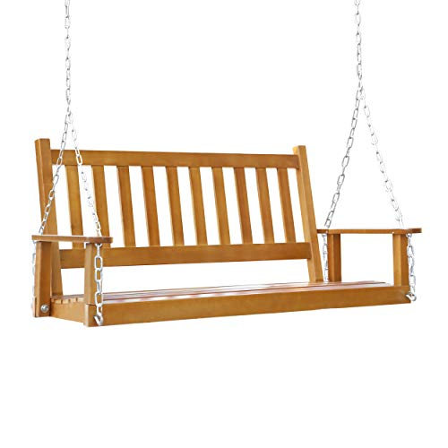 Mupater Outdoor Patio Hanging Wooden Porch Swing with Chains, 2-Person Heavy Duty Swing Bench for Garden and Backyard, Wood Brown, 52''W x 23.6''D