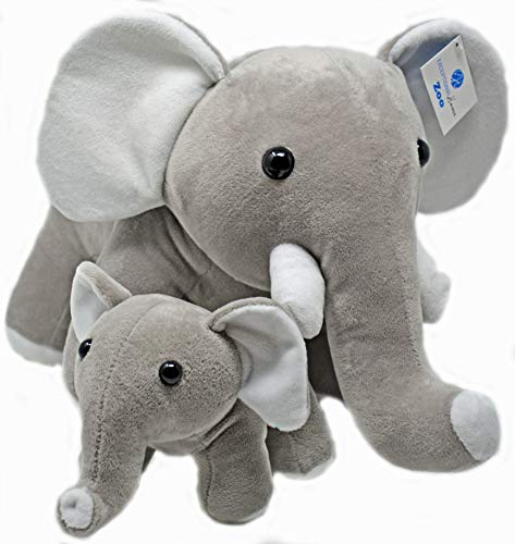 Elephant Stuffed Animals Super Soft Plush Mother Baby Elephants Toy Set by Exceptional Home