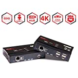 4K HDMI KVM Extender Switch 100 m PoE USB 2.0 Hub Nahtlose Tastatur- / Maus-Rücksteuerung, Unterstützung von 4K @ 30Hz 4: 4: 4-Video, 5,1-Kanal- / 7,1-Kanal- / DTS- / Dolby-Audio