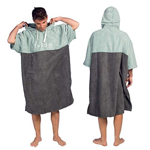 Vivida Lifestyle - Essential Kapuzen Poncho Handtuch mit Quickdry Fabric für den Strand, zum Surfen, Schwimmen & Triathlon (Blau-Grün, S/M)